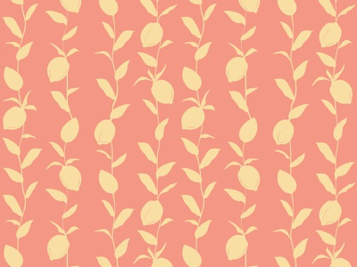 Yellow Lemon Fruits and Leaves Pattern