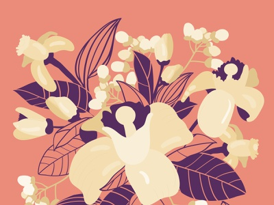 Lemon Tree Flowers and Bads Bouquet vector illustration
