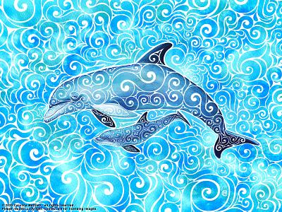 Swirly Dolphin Family