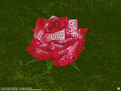 Swirly Rose illustration classic romantic flowers colorful red pink rose flower botanical nature mixedmedia roses femaleartist digitalart traditonalart swirly ink aquarelle abstractart