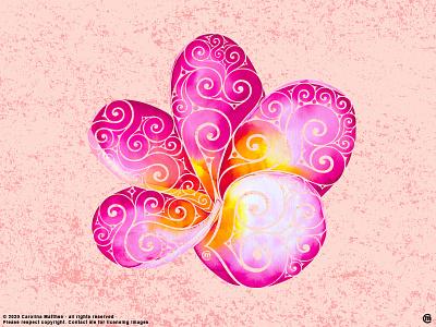 Swirly Plumeria copyright ink mixedmedia swirly abstract vibrantcolors summervibes design illustration plumeriaflower hawaiian style tropic hawaiian exotic flowers floral flower plumeria nature botanical