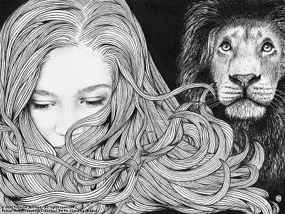 Inktober #2 hair lion inktober2020 portrait girl cat inkpens brandnew inktober art animals drawing ink illustration