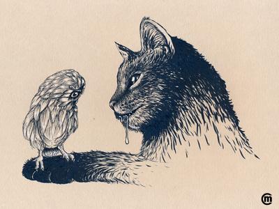 Inktober Day 6 Drooling drawing illustration drooling babybird owl moggie cat animals dailydrawing inkpen ink inktober2018 inktober