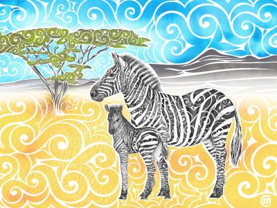 Swirly Zebra Family