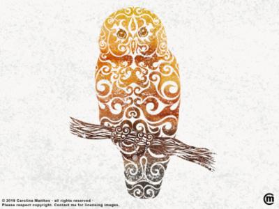 Swirly Owl grunge texture birds swirly illustration swirly design swirly illustration abstract design abstract art abstract aquarelle watercolor mixed media owl design owl art owl bird animals