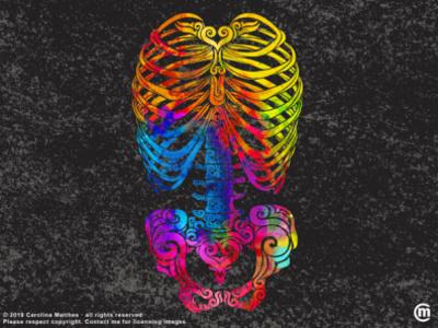 Swirly Bones (color) dark art abstract illustration abstract art swirly design swirly illustration aquarelle watercolor mixed media vibrant colors torso design swirly skull skeleton halloween colorful bones aquarell illustration abstract
