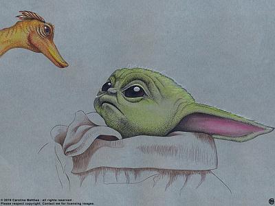 Baby Yoda and Friends #1 disneyplus inkpens traditional illustration themandalorian starwars pointillism ink illustration fanart drawing disney cute babyyodaandfriends babyyoda