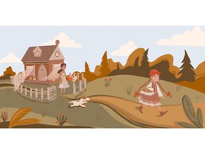 Little Red Riding Hood art illustrator icon design illustration