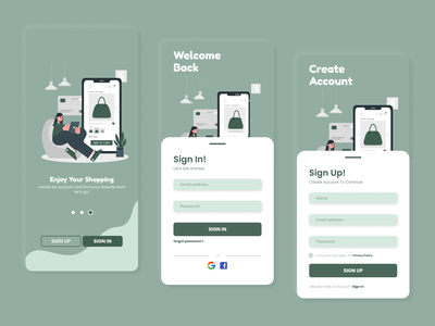 sign in and sign up sign in page sign in ui sign up page sign up ui sign in app ui uiux uidesign user interface interface minimal mobile ui shopping shop branding mobile flat ui design