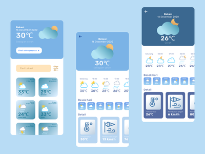Weather App flat weather icon weather app weather moon time sun sunny cloud humidity wind cloudy rainy app uidesign user interface interface illustration app ui