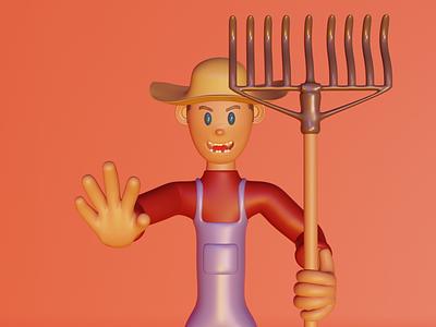 3d illustration - the farmer 3dvisualization designgraphic graphic design 3d uiux color blender 3d blender character art 3d art 3dsmax 3dmodel render farmer octane uidesign ui illustration