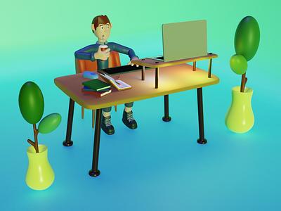 3d illustration - Work From Home ux colors 3dcharacter 3d animation graphic design app web character art render mobile blender 3d 3d art 3dmodel octane illustration graphic uiux ui