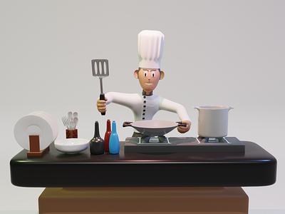 3d illustration - Chef web blender app 3dmodel render graphic design ux cooking cook chef 3dsmax octane illustration graphic 3d art 3d design app ui uiux ui