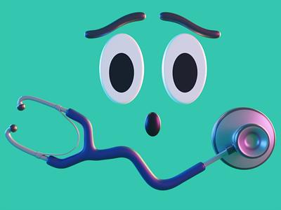 3D Illustration Stethoscope render mobile app web graphic design logo stethoscope doctor blender 3d design branding illustration design app 3d art 3d app ui uiux ui