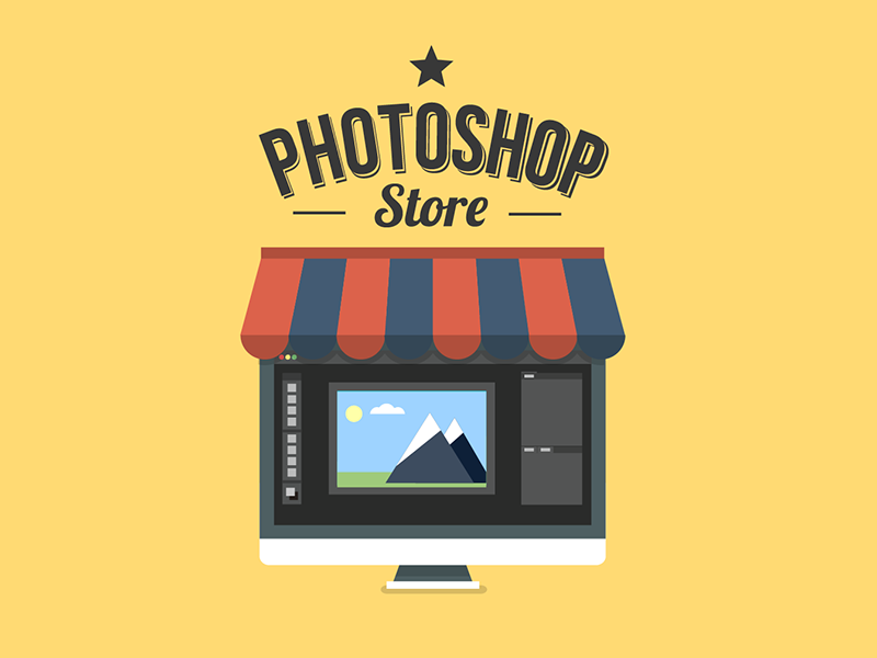 Photoshop Store Logo flat photoshop icon logo