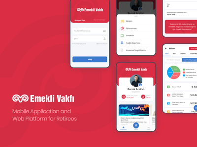 Koç Emekli Vakfı - Mobile Application&Web Platform for Retirees mobile desktop platform app retired flutter android ios creative flat ui ux design