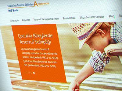 ING Bank - Türkiye'nin Tasarruf Eğilimleri Araştırması ReDesign banking graphic flat ux ui web design ingbank education