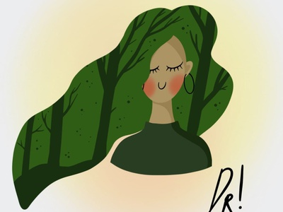 girl forest minimal people illustration nature illustration cute green trees forest nature procreate cartoony hair girl girl illustration fashion graphic design illustration art