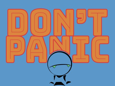 Don't Panic minimal flat vector illustration