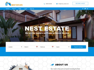 Nest Estate Home Mockup identity gradient graphic homepage dribbble digital color creative character concept brand identity brand app animation graphic design web website art branding design