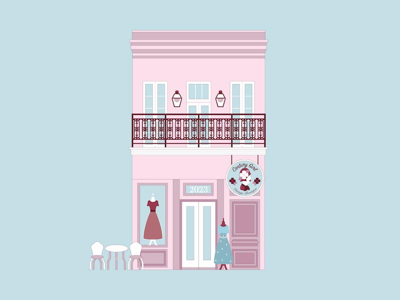 Century Girl Vintage vintage boutique shop historical louisiana design nola new orleans building illustration vector architecture
