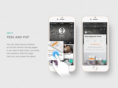 Nofefolio app (Peek and pop) portfolio card app application concept layout flat design modern mobile ios android