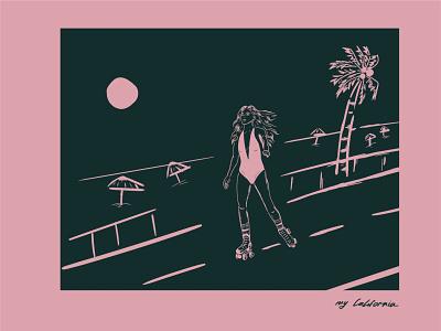 my California art beath illustration beach illustration usa picture california hip-hop girl picture girl pink girl pink green illustration vector art girl girl art girl in swimsuit roller-skating girl girl illustration california 80 california art illustration
