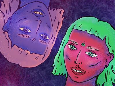 I eyes woman eye illustration eye eye art faces illustration faces bright girl bright woman green pink and blue heads girls woman illustration heads art heads illustration woman art woman art illustration