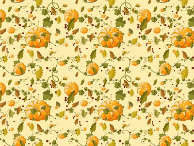 Autumn seamless pattern of pumpkins, berries and leaves. pumpkin pattern paper packaging october oak nature mood illustration holiday halloween flora fabric design decoration berries background autumn