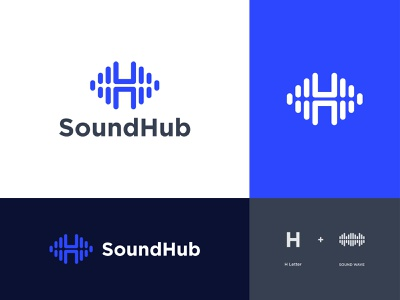 SoundHub-Logo Design modern music sound h letter h audio waveform wave icon alphabet design illustration monogram lettermark logomark logo designer designer portfolio concept branding brand identity