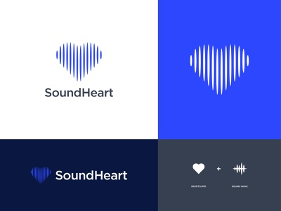 SoundHeart - Logo Design Concept symbol music audio waveform shape monogram soundwave heart sound love illustration design icon logomark logo brand identity branding concept designer portfolio designs