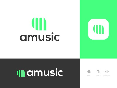 amusic - Logo Design Concept minimalist soundwave company modern lettermark sound music mletter aletter alphabet logomark app icon logo logo designer concept designs branding designer portfolio brand identity