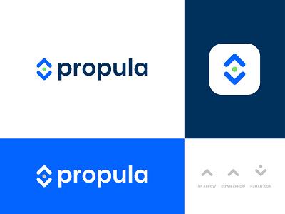 propula - Logo Design Concept business company logoinspiration presentation growth population arrow down up people human propula branding brand identity designer portfolio concept designs logo logo designer design
