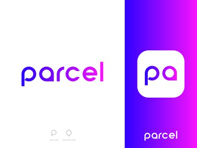 parcel - Logo Design Concept gradient location chat negativespace typography modern icon app e-commerce delivery parcel wordmark design logo logo designer designs concept designer portfolio branding brand identity