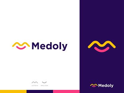 Medoly - Logo Design Concept unique creative medoly wave noodles resturant shop happy smile m letter letter logo minimalist modern logo designer logo designs concept designer portfolio branding brand identity