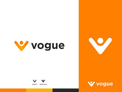 vogue - Logo Design Concept unique v letter logo v letter celibrate joyfull vogue flat modern iconic man human design logo designer logo designs concept designer portfolio branding brand identity