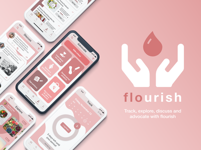 Flourish - Adobe x MTV Creative Jam ui design girl feminist feminism women female pink red health cycle iphone app menstruation period design creativejam adobexd adobe figma ui