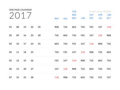 One Page Calendar 2017 by Alen Sunny Stephen - Dribbble