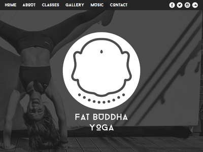 Fat Buddha Yoga black and white layout yoga buddha web icon design logo