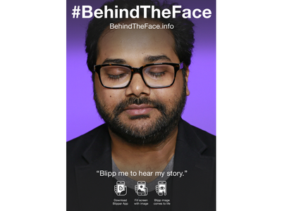 #BehindTheFace Augmented Reality Portrait: Ambarish Mitra augmented reality btf poster illustration icons blippar