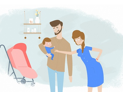 Family baby mum dad family fun cool design photoshop illustrator illustration charater