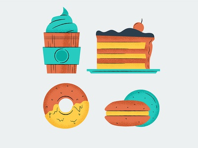 🧁Sweets food shape stroke vector illustration sugar sweet cake cupcake donut dessert