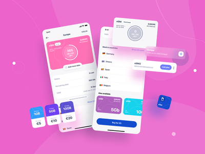 eSIM Manage design app ux