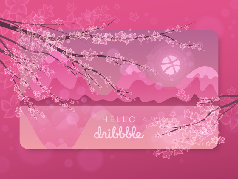 Hello dribbble! sakura pink first shot hellodribbble hello drowing flat design illustration vector