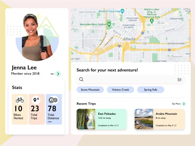 User profile - Daily UI #006 uxui uidesigner uidesign uxdesigner uxdesign interfacedesign biking bikes hiking adventure profile userprofile user logo user experience ux ui uiux dribbbler dribbblers