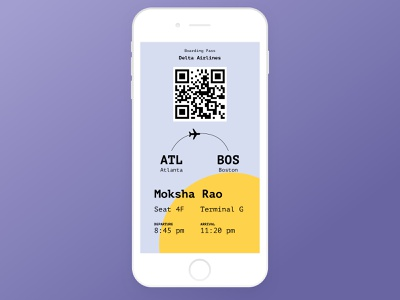 Boarding Pass - DailyUI #024 airport flying traveler fly interfacedesign uidesign uxdesigner uxdesign boardingpass travel dailychallenge dailyui design daily dribbblers user experience app ui ux uiux