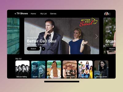 TV App - DailyUI #025 tvshow movies challenge dailychallenge dailyui uxdesigner uxdesign netflix appletv tvapp tv design daily dribbblers user experience app ux ui uiux