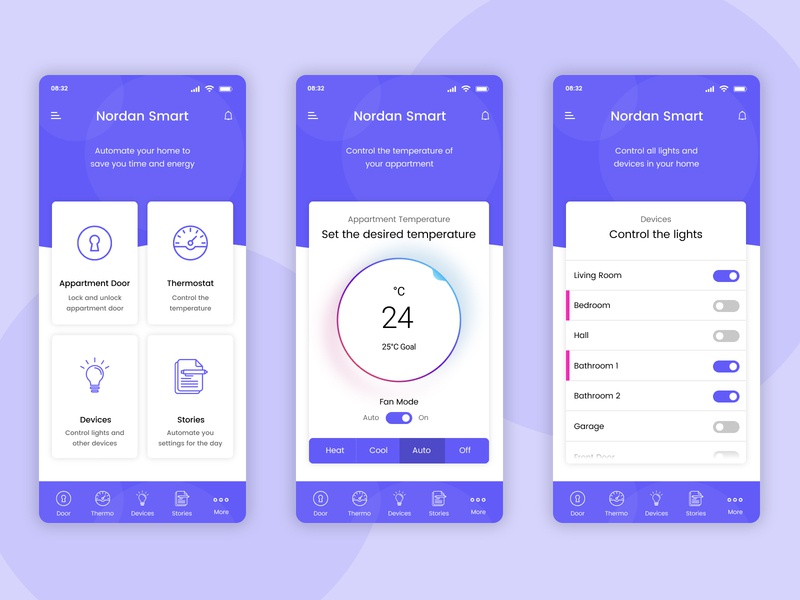 Smart App for Wireless Appartment Control house box menu notification gradient shadow rounded purple pink control appartment thermostat lights temperature door circle phone app