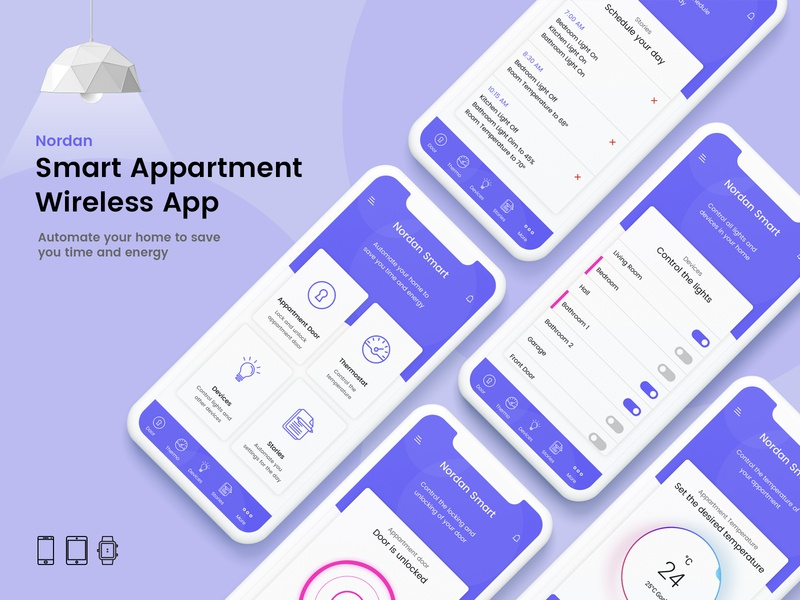 Smart Appartment Wireless App apartment purple lights home appdesign appui application app smart phone uxdesign uidesign uiux ux ui mobile