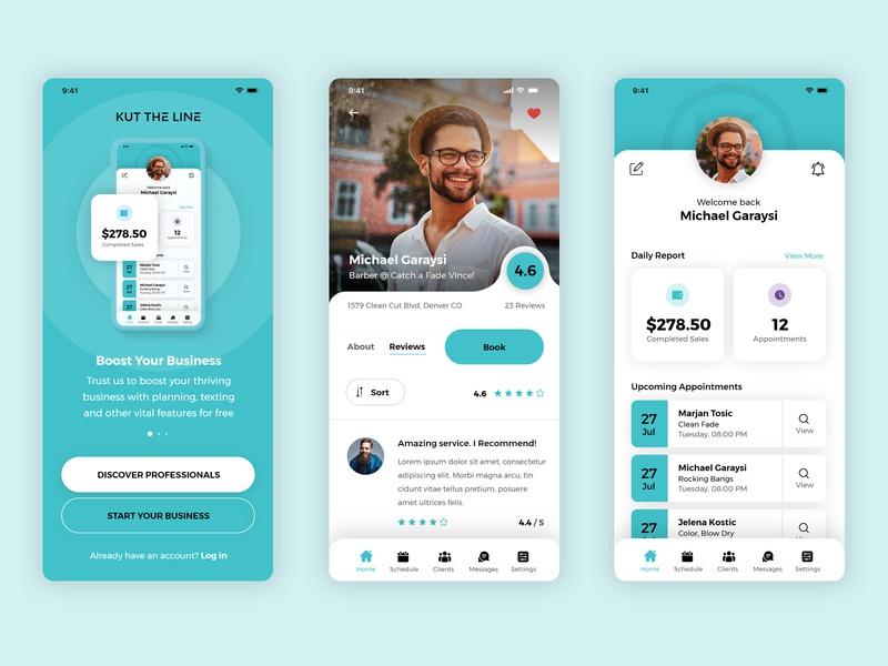 App design for a Professional Booking App hairstyle haircut tattoo massage nail design ux ui phone rating comments onboarding splash profile professional turquoise green blue app barber
